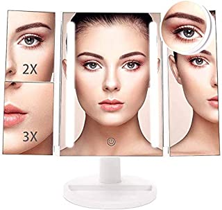 Vanity Mirror 10x Magnifying Glass 24 LED lighted Makeup Mirror With Magnification Trifold magnify mirror with light 2x 3x...