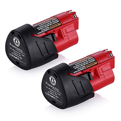 Powerextra 2 Pack 12V 3000mAh Lithium-ion Replacement Battery Compatible with Milwaukee M12 48-11-2411 48-11-2420 48-11-2401 48-11-2402 48-11-2401 12-Volt M12 Cordless Tools