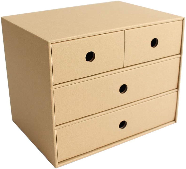 TLMYDD Padded Storage Box Desktop Drawer Paper Storage Box Desk Student Dormitory Kraft Paper Storage Box Bookcase (Size   26cm)