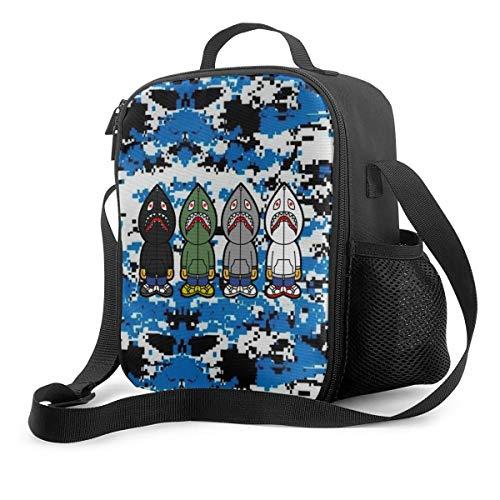 Cute Bape Shark Lunch Bag Tote Lunch Bag Adjustable Shoulder Strap For Men Women Kids Durable School Office Work Lunch Box Picnic