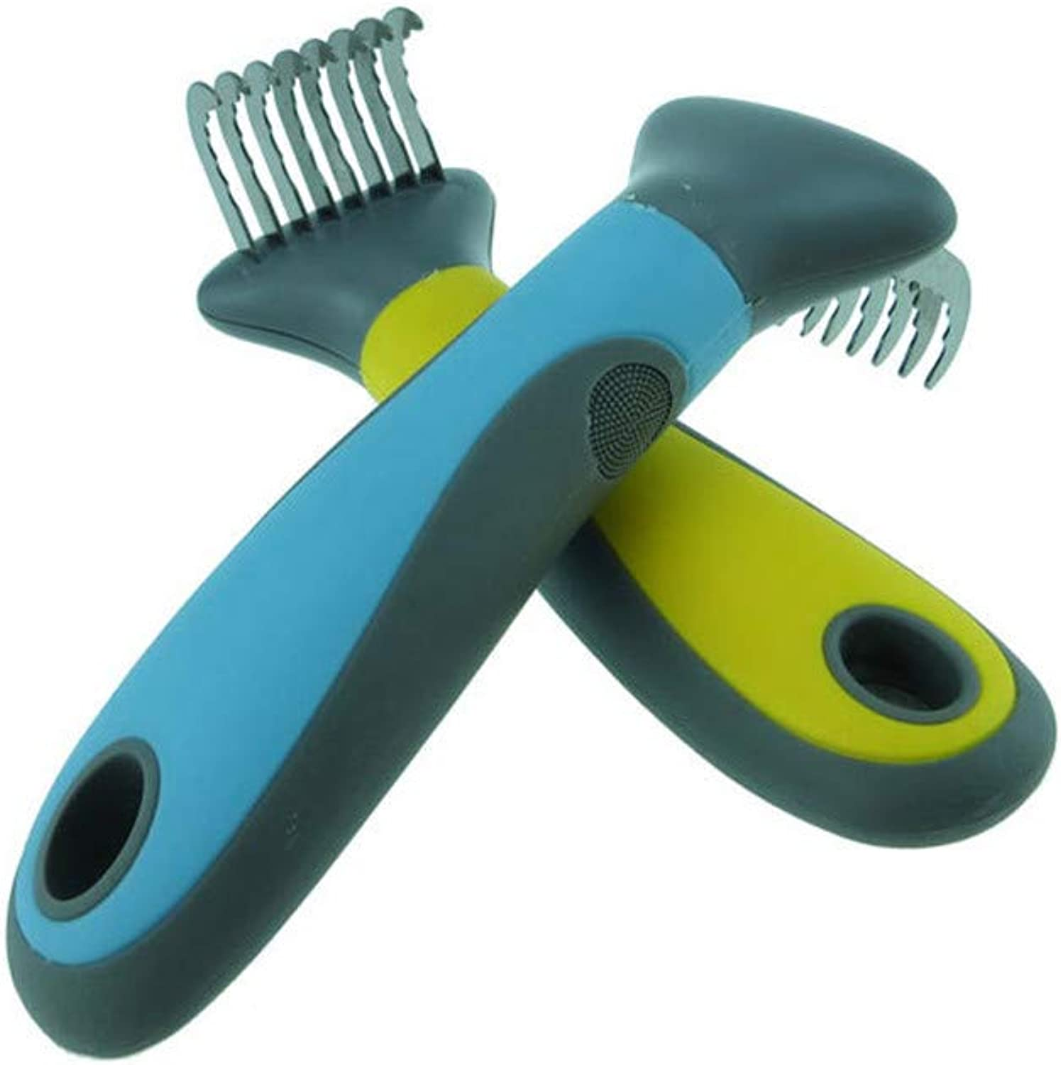 Pet Hair Removal Comb 2 Pieces Dog Hair Opening Knot Knife Stainless Steel Comb Tooth NonSlip Rubber Handle Wave Shape Teeth Easy to Use Dog Knot