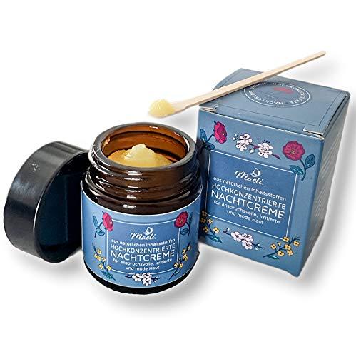 Maeli® Nachtcreme, vegan, 100% pflanzlich, tierversuchsfrei -Naturkosmetik für intensive Gesichtspflege, 30ml - verwendbar als Augencreme, Serum &Feuchtigkeitscreme