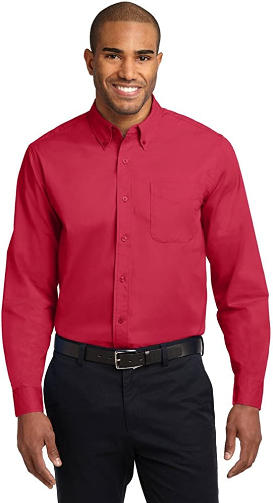 Port Authority Tall Long Sleeve Easy Care Shirt, Red/Light Stone