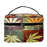 Grunge - Bolsa de maquillaje para viaje, diseño de hojas de cáñamo, gran bolsa de maquillaje, organizador con cremallera, para mujeres y niñas