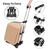 Feyue Luggage Cart Folding Compact Lightweight Portable Aluminum Alloy Luggage Carriers with Wheels Hand Truck with Bungee Cord(88LB) Black