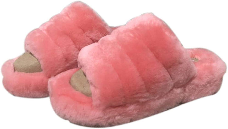 Nafanio kvinnor kvinnor kvinnor Home Slippers med Platform Winter Sheepsky Warm Home Unisex hög klack House Fluffy skor  väntar på dig