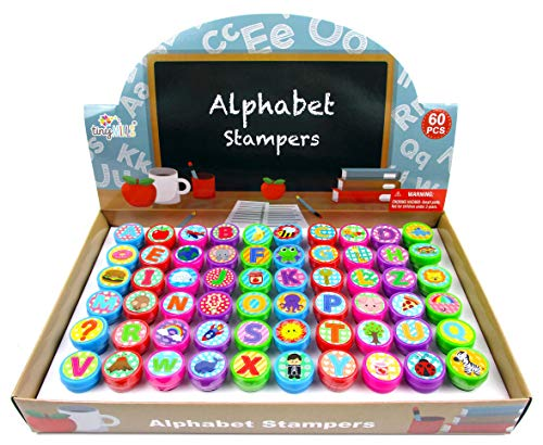 TINYMILLS 60 Pcs Alphabet Assorted Stampers for Kids Birthday Gift Educational Gift Rewards Learning Toys