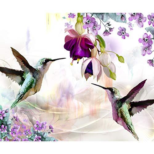 decomonkey Fototapete selbstklebend Blumen Vogel 245x175 cm XL Selbstklebende Tapeten Wand Fototapeten Tapete Wandtapete klebend Klebefolie Kolibri bunt