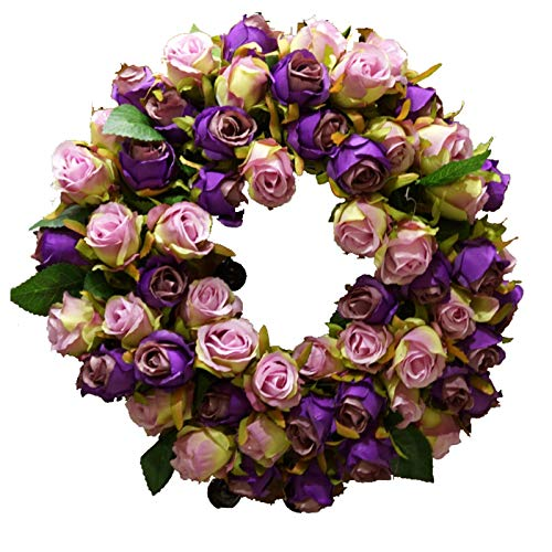 14' Artificial Rose Wreath, Bright And Charming – Realistic Natural Look Spring Summer All Seasons Front Door Wreaths for Home Office Wall Decor,purple