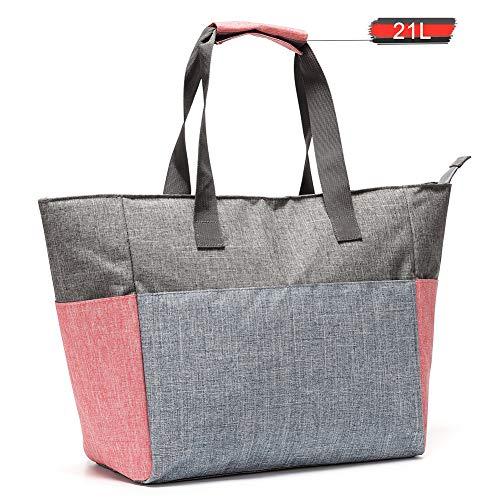 Jeckyxun Faltbar Gross Kühltasche 21L, Isolierte Lunch-Tasche für Picknick Strand Mittagessen Arbeit Einkaufs Auto Grillen, Tragbarer-Grau (Grau-21L)