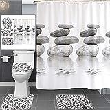 TONGTONG Rideau de douche imperméable avec motif pavés - Tapis de bain antidérapant - Accessoires de salle de bain avec 12 crochets