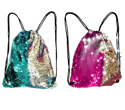 Toyme Paquete de 2 mochilas con cordón de lentejuelas de sirena, bolsa de baile mágica, mochila deportiva con purpurina para niños, adultos