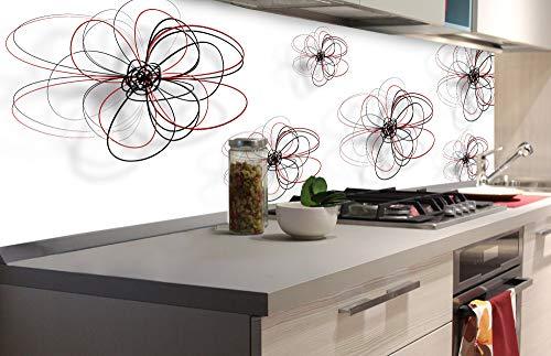 DIMEX LINE Küchenrückwand Folie selbstklebend ROT-Schwarze Blumen 180 x 60 cm | Klebefolie - Dekofolie - Spritzschutz für Küche | Premium QUALITÄT