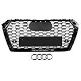 KIMISS RS4 Style Front Sport Hex Mesh Honeycomb Hood Grill Negro brillante para A4 S4 B9 17-18