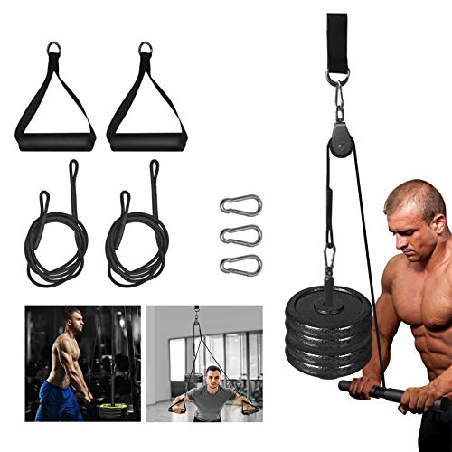 Fitness LAT Pull Down Pulley System with Single Handle Bar and Heavy Duty Flying Cable Handles for DIY Home Gyms Garage Arm Forearm Wrist Shoulder Back Biceps Triceps Strength Training Exerciser LAT Cable Pulley System Attachment