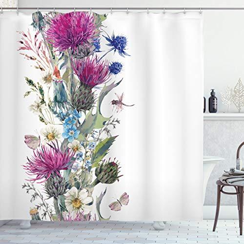 ABAKUHAUS Distel Duschvorhang, Vintage Herbal Border, Wasser Blickdicht inkl.12 Ringe Langhaltig Bakterie & Schimmel Resistent, 175 x 180 cm, Lila Grün
