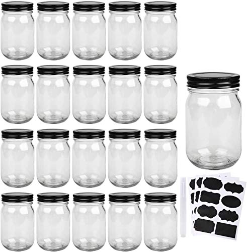 Mason Jars,Glass Jars With Lids 12 oz,Canning Jars For Pickles And Kitchen Storage,Wide Mouth Spice Jars With Black Lids For Honey,Caviar,Herb,Jelly,Jams,Set of 20…