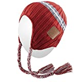 Qshell Wireless Bluetooth Beanie Hat Braid Headphones Headsets Speakers Mic Hands Free for Womens Mens Outdoor Sports Lifestyle,Compatible with iPhone 7/7 Plus,Samsung, Orange