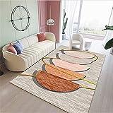 Alfombra del Piso Naranja Alfombra de salón Naranja semicircular patrón Suave Alfombra Anti-mita Alfombra 80x160cm alfombras Entrada casa 2ft 7.5''X5ft 3''
