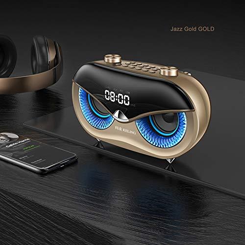 FXMINLHY Kabelloser Stereolautsprecher-Subwoofer mit FM-Radio, Cat-Eye-Lautsprecher für Home Party Car und Travel, Musikwiedergabe für 10 Stunden (Gold)