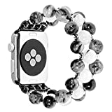 Compatible with Apple Watch Band 38mm 42mm 40mm 44mm , Fashion Handmade Elastic Stretch Faux Crystal Pearl Bracelet Women Girls Watch Bands Strap Replacement for Apple Watch SE Series 6 5 4 3 2 1, 42mm 44mm, Black and White