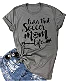 DUDUVIE Womens Livin That Soccer Mom Life T-Shirt Round Neck Short Sleeve Top Tees(XX-Large,Gray)