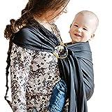 Shabany® - Ring Sling Tragetuch - 100% Bio Baumwolle - Babybauchtrage für Neugeborene Kleinkinder bis 15 KG - inkl. Baby Wrap Carrier Anleitung - schwarz (dreams)