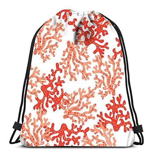 Lsjuee Mochilas con cordón Flamingo Flores y Hojas Diseño de nenúfares Deportes Viajes Yoga Gymsack