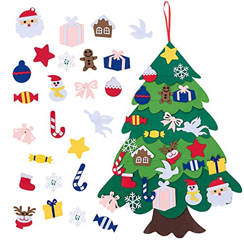 Aaskuu 3.1Ft DIY Felt Christmas Tree Set with 26pcs Detachable Ornaments, Wall Hanging Christmas Tree Home Decorations, Kids Xmas Gifts Party Supplies