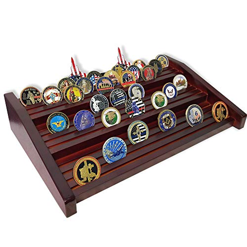 DecoWoodo Military Challenge Coin Holder Display Stand Solid Wood 12 Rows Large Coin Rack