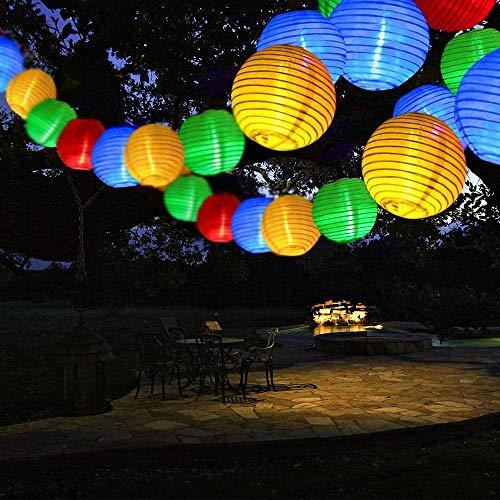 Qedertek Solar Lichterkette Lampion Außen 30 LED Laternen 2 Modi Wasserdicht Solar Beleuchtung für Garten, Hof, Hochzeit, Fest Deko (Bunt)