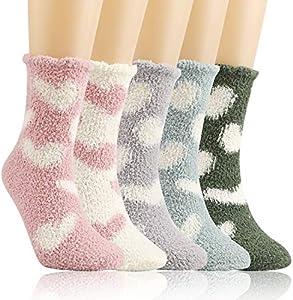 QKURT 5PCS Invierno Calcetines Termicos,Calcetines Mujer Invierno Calcetines Mujer Divertidos para mujeres niñas