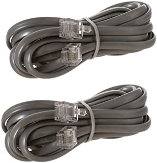 RJ11 Straight for Data Modular Cable 7 Feet Silver – 2 Pack