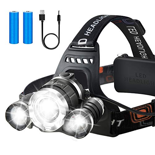 Rechargeable Headlamp, Head Flashlight, USB Rechargeable Head Lamp, Waterproof LED Work Headlight, Adjustable Headlamps for Adults and Kids, Hardhats Light for Camping, Running, Fishing
