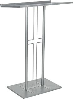 Displays2go Cross Podium, Floor Standing Pulpit, Slanted Top, Steel with Wood Base, Silver (LCTPCRSSLV)