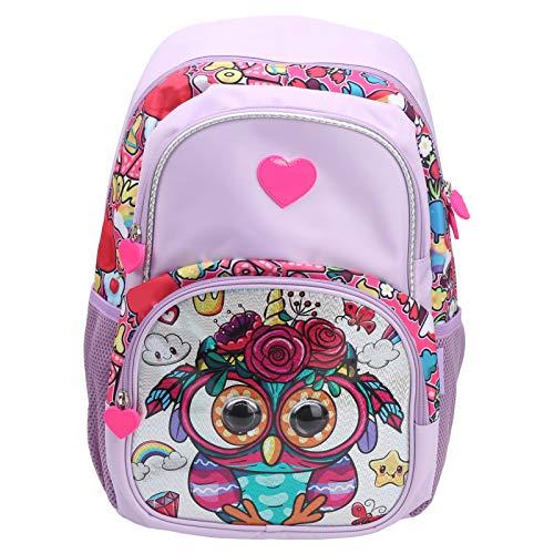 Mochilas grandes para niños, mochila escolar con bolsillos de malla elástica para botellas bolsa resistente al agua para niños con patrón de búho de dibujos animados para niñas y niños(Púrpura)
