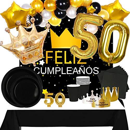 Fiesta Cotigo Pack de Artículos para Fiesta Cumpleaños Número 50-Decoración de Globos Cumpleaños,Set de Vajilla Desechable y Accesorios-Temática Negra y Dorada para Adultos Hombres y Mujeres
