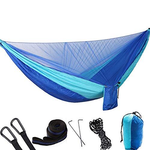 XHLLX Hamaca doble para camping con mosquitero, 290 x 140 cm, portátil con hamaca de viaje al aire libre, para camping, senderismo, mochilero, color negro