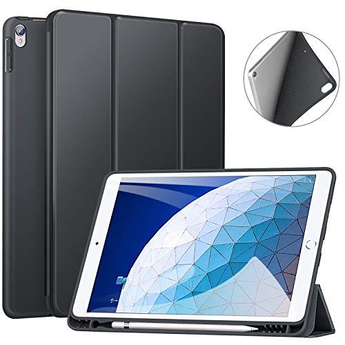 ZtotopHülle Hülle für iPad Air 10.5 2019(3. Generation) & iPad Pro 10,5 2017,Superdünne Soft TPU Rückseite Abdeckung mit eingebautem iPad Stifthalter, mit Auto Schlaf-/Aufwachfunktion,Dunkel Grau