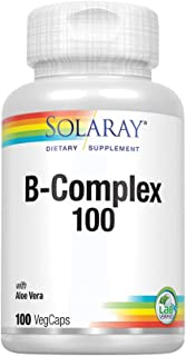 Solaray Vitamin B-Complex 100   Supports Healthy Hair and Skin, Immune System Function, Blood Cell Formation and Energy Metabolism   100 VegCaps