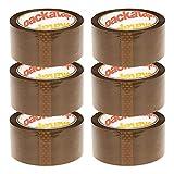Packatape 6 Rollos Cinta Embalar Adhesiva 48MMx 66M para Cajas y Paquetes Ideal para Envíos y Mudanzas - Precinto Embalar Extrafuerte y Resistente – Color Marrón