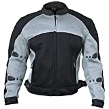 Xelement CF511 Men's 'Guardian' Black and Silver Mesh Sports Jacket with X-Armor Protection - 5X-Large