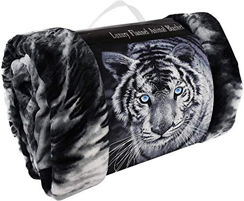 Y-H Animal Pattern 3D Faux Fur Throws Blankets For Sofa Bed Blankets Double King Size (Black White Tiger, King 200 x 240cm)