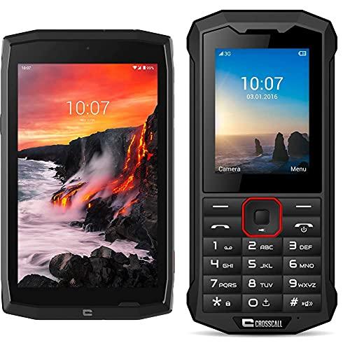 Crosscall Core-T4 - Tableta de 8 Pulgadas (1280 x 800 Pixels, 3 GB RAM, 32 GB, cámara Frontal 5 MP, Sensor 13 MP, Android 9.0 Pie) + Teléfono Móvil (2.4 Pulgadas - 64 GB Memoria - Dual SIM) Negro