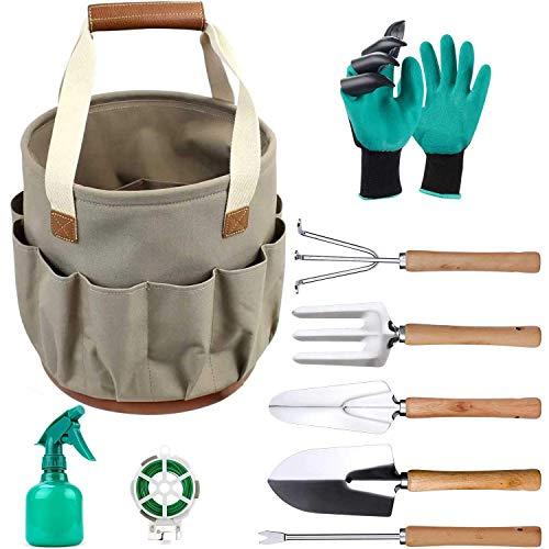 Gartengeräte-Set, Gartengeräte mit 9-teiligem Garten- und Hochleistungs-Aufbewahrungseimer, Gartengeschenke-Werkzeugset für Männer und Frauen