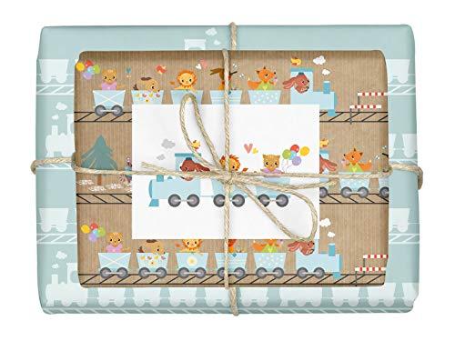 4x Geschenkpapier Eisenbahn + Zug-Postkarte für Kinder und Babys: doppelseitige Bögen DIN A2 (Öko, Recycling-Papier) | Für Jungen und Mädchen | Dampflokomotive/Geburtstagszug
