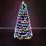 SHATCHI- Árbol de Navidad de fibra óptica de 150 cm, multicolor con varios efectos de decoración navideña, Color verde, 1,52 m (6082)