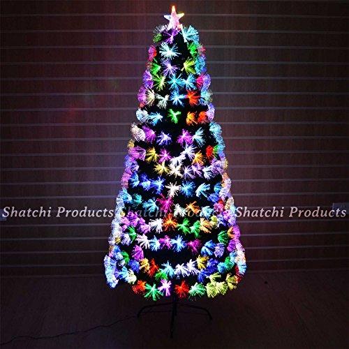 SHATCHI- Albero di Natale in Fibra Ottica, 150 cm, Cambia Colore con Vari Effetti, Verde, 5FT, 6082