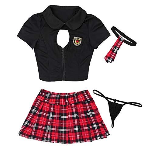iEFiEL 4PCS Damen Cosplay Kostüm Schulmädchen Kurzarm Uniform Babydoll Lingerie Aushöhlen Hemd Kariert Rock Tanga und Krawatte Schwarz+Rot Medium