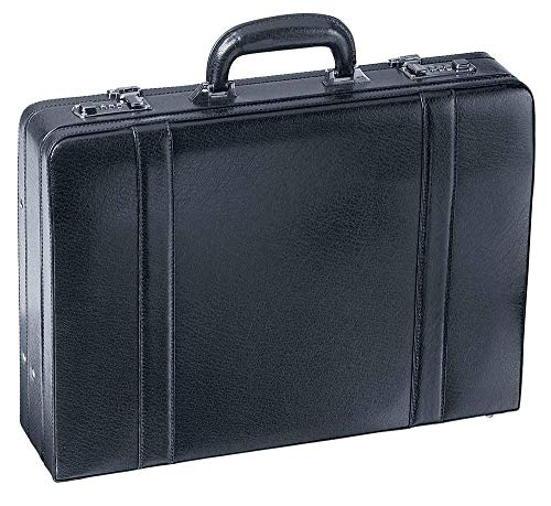 Mancini BUSINESS Expandable Attache Case, Leather Briefcase in Black